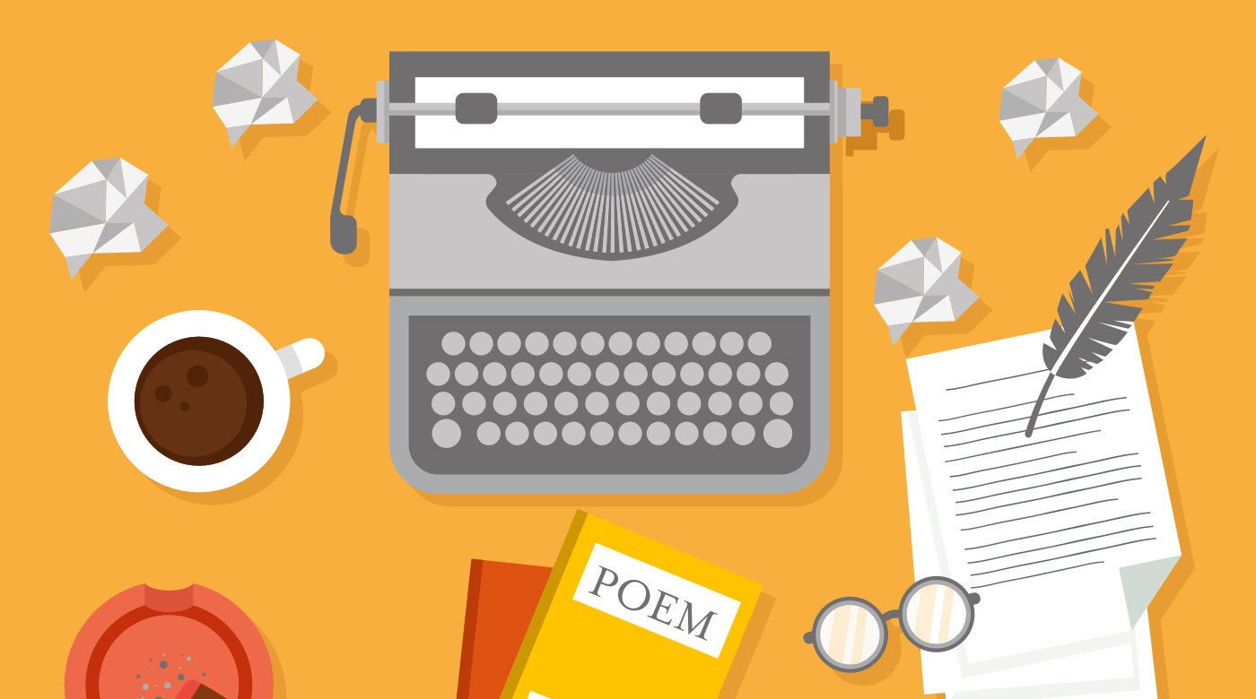 Typewriter, coffee & notepaper.