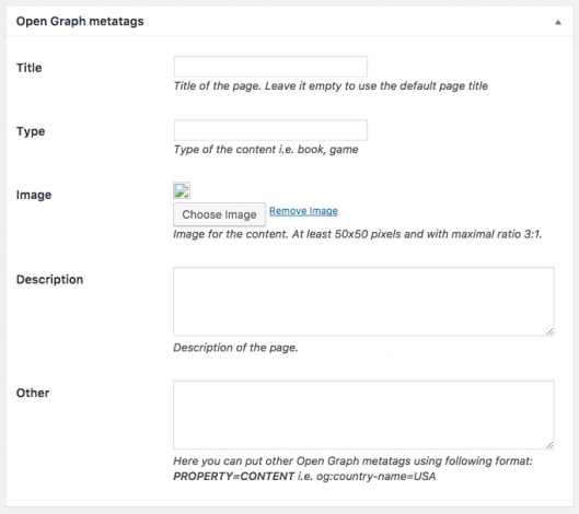 Fields for Open Graph meta tags.