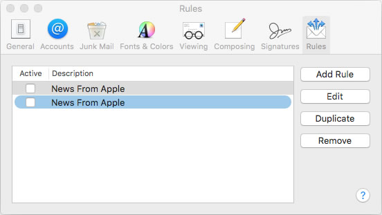 MacMail rules