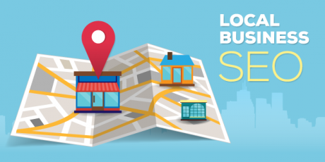 Businesses on a map in local SEO.