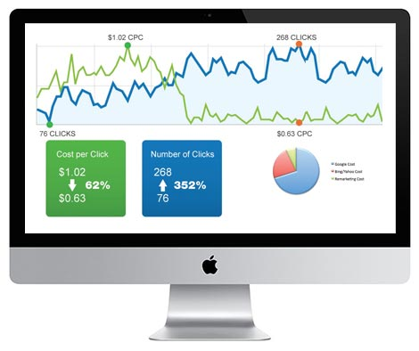 Computer screen showing analytics graphs in PPC management.