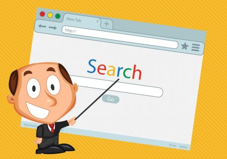 An instructor showing how to get to the first page of Google.