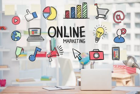 Office & laptop for local online marketing.