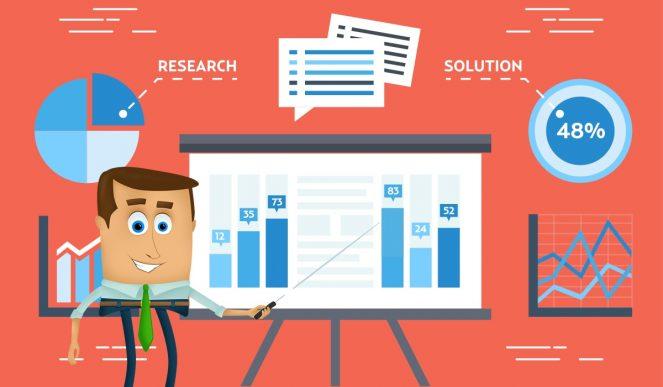 Businessman explaining online research.