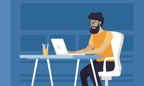 On page SEO techniques. Man at a laptop.